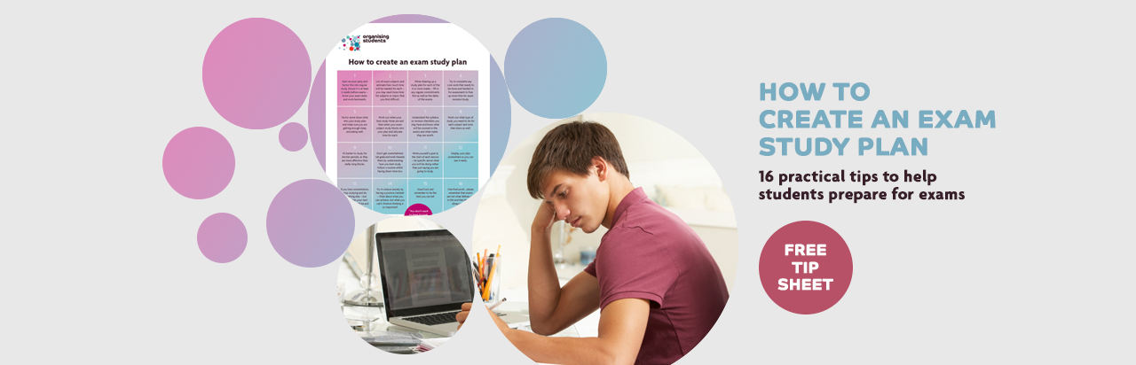 Organising Students - how to create an exam study plan text and image