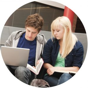 image of students studying in a group