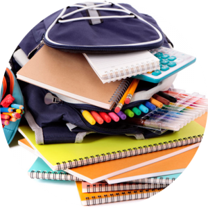 A must for students - end of school year reflection and planning - image of a pile of books and stationery