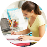Image of girl studying -10 tips for students learning @ home