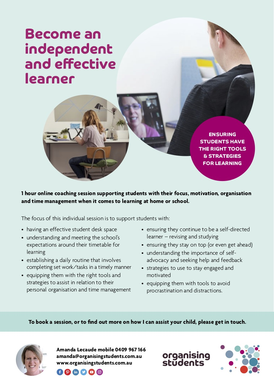 Flyer for becoming an independent and effective learner - Supporting students & parents during the pandemic - Organising Students