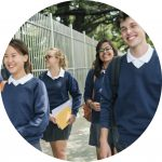 Students walking to school - going back to school after learning @ home - Organising Students