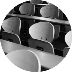 Image of lecture theatre chairs - Is your next step going to university or completing further studies? Organising Students