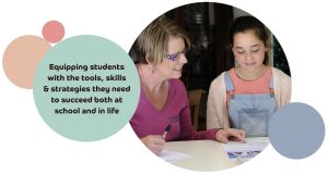 Organising Students Motto - equipping students with the tools, skills and strategies they need to succeed both at school and in life - image of Amanda with a student