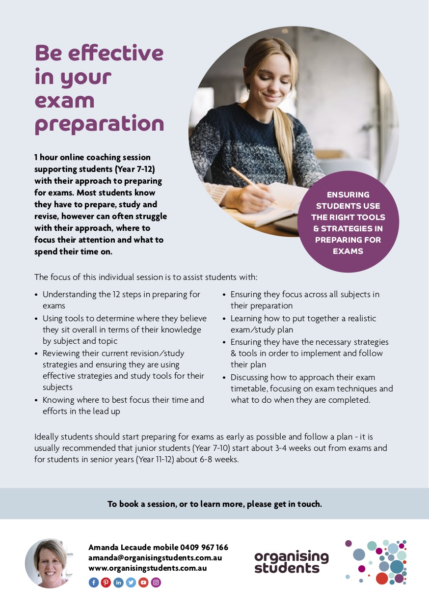 Flyer for being effective in exam preparation 1:1 student sessions - Organising Students
