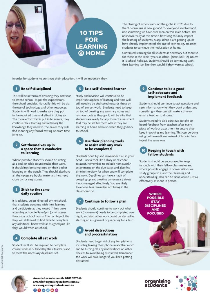 10 tips for learning at home tip sheet with images of students - organising students