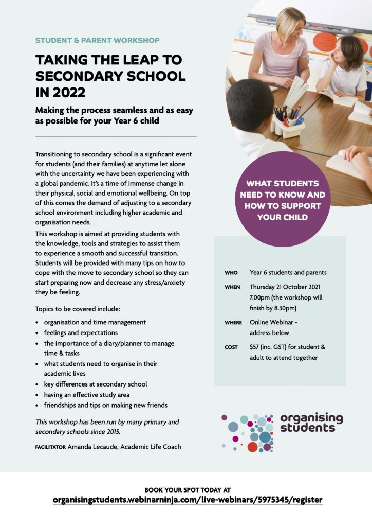 Organising Students - Taking the Leap to Secondary School in 2022 Event Details